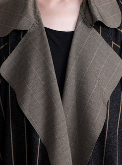 Notched Striped Straight Trench Coat