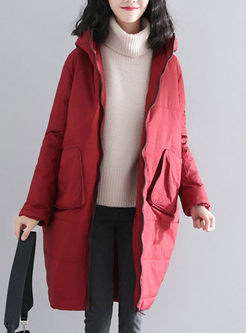 Solid Color Hooded Straight Puffer Coat