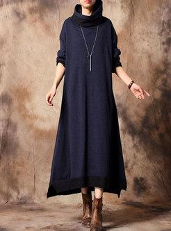 Color-blocked Turtleneck Long Sweater Dress