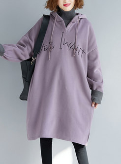 Hooded Letter Embroidered Sweatshirt Dress