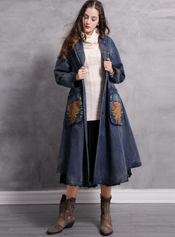 Embroidered A Line Loose Long Denim Coat