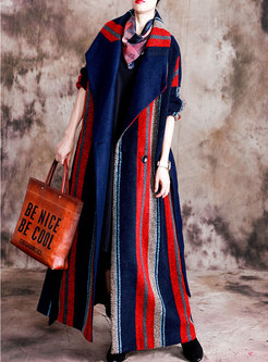 Lapel Striped Long Wool Blended Coat