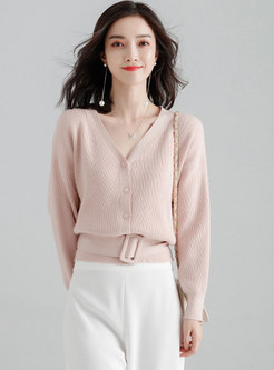 Solid Color V-neck Cropped Sweater
