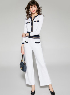 Color-blocked Knitted Wide Leg Pant Suits