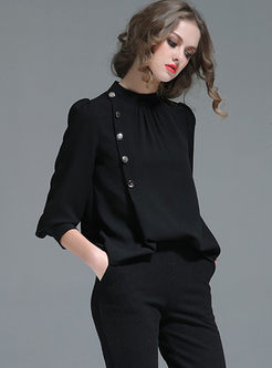 Red Stand Collar Long Sleeve Pullover Chiffon Blouse