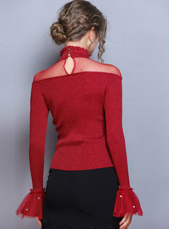 Flare Sleeve Patchwork Lace Slim Sweater