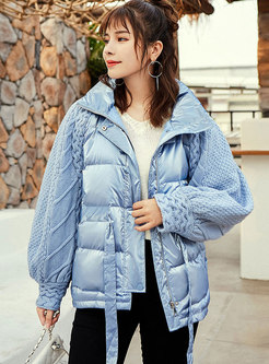 Long Sleeve Sweater Patchwork Puffer Coat