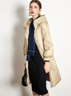 Solid Color Hooded Lightweight Down Coat