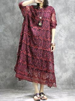 Solid Color Long Sleeve Shift Maxi Dress