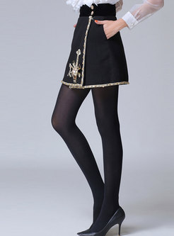 Beading Patchwork Hairy Short Skirt