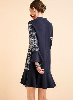 Falbala Sleeve Mock Neck Embroidered Mini Skater Dress