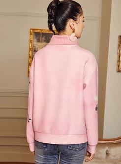 Turtleneck Patchwork Knit Loose Sweatshirt