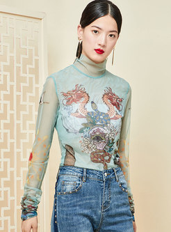 Turtleneck Mesh Perspective Patchwork Print T-shirt