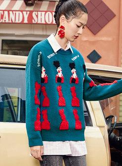 Crew Neck Jacquard Loose Pullover Sweater