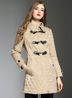 Horn Buckle Slim Plaid Overcoat