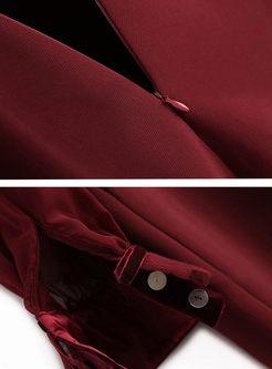 Brief Lantern Sleeve Mini A-line Dress