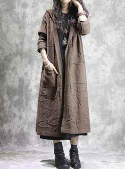 Pure Color Hooded Loose Slit Long Sweater Coat