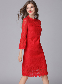 Solid Color Mock Neck Flare Sleeve Lace Dress