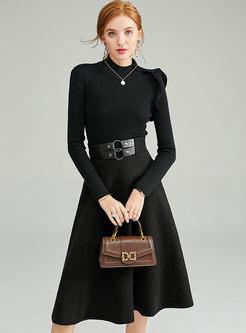 Black Turtleneck A Line Sweater Suit Dress