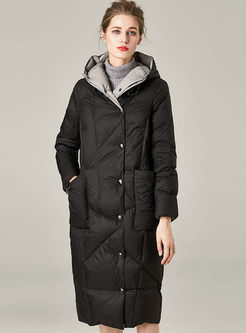 Hooded Solid Color Long Down Coat