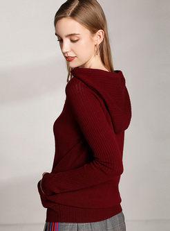 Hooded Long Sleeve Pullover Slim Sweater