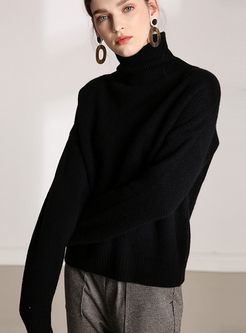 Solid Color Turtleneck Loose Sweater
