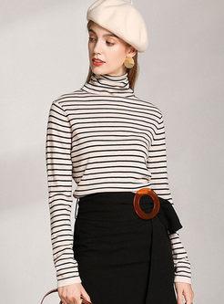 Turtleneck Striped Slim Wool Knit Sweater