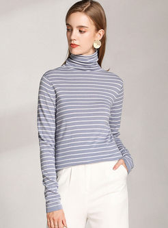 Turtleneck Striped Slim Wool Knit Sweater