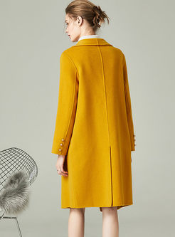 Notched Long Sleeve Wool Blended Peacoat