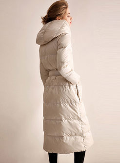 Solid Color Long Puffer Coat With Belt