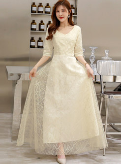 V-neck Mesh Sequin Maxi Dress