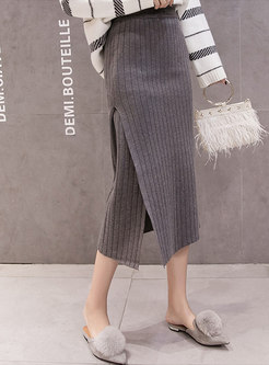 Elastic Waisted Striped Bodycon Knit Skirt