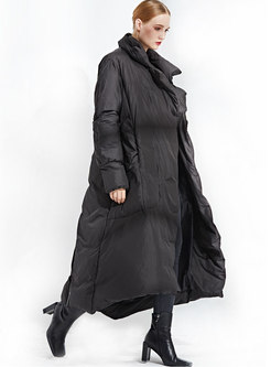 Solid Color Bat Sleeve Long Down Coat With Belt