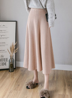 High Waisted Thick A Line Knit Skirt