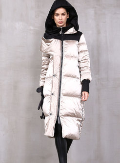 Hooded Patchwork Straight Slim Down Coat