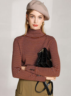 Turtleneck Striped Slim Pullover Sweater