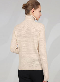 Solid Color Turtleneck Slim Sweater