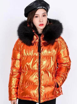 Fur Collar Patchwork Short Puffer Coat
