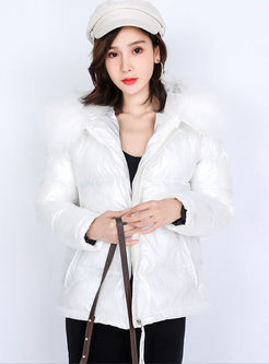 Hooded Long Sleeve Short Puffer Coat