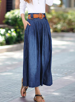 High Waisted Big Hem Denim Skirt