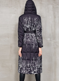 Embroidered Hooded A Line Down Coat