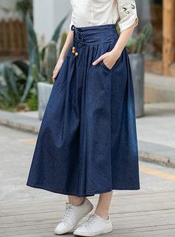High Waisted Denim A Line Long Skirt
