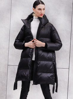 Solid Color Hooded Zipper Straight Puffer Coat