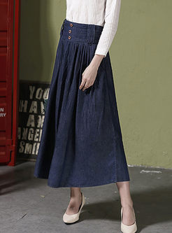 Deep Blue High Waisted Denim Maxi Skirt