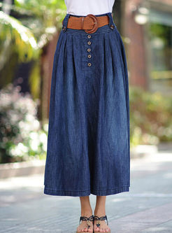 Blue Denim High Waisted A Line Skirt