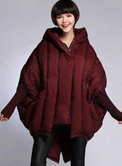 Bat Sleeve Loose Hooded Irregular Puffer Coat