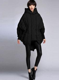 Bat Sleeve Loose Hooded Cape Puffer Coat