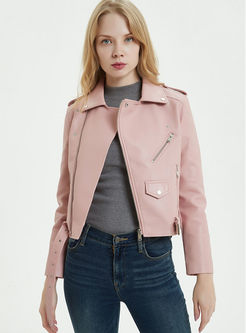 Lapel Zipper Short Biker Jacket With Belt