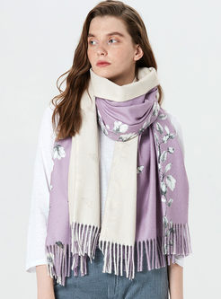 Print Tassel Color-blocked Thick Scarf