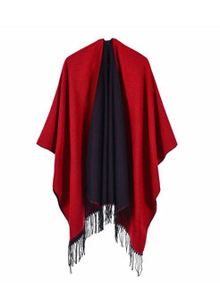 Color-blocked Fringed Poncho Scarf